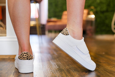 Shop CHEETAH BACK VELCRO SNEAKERS -- As You Go Boutique
