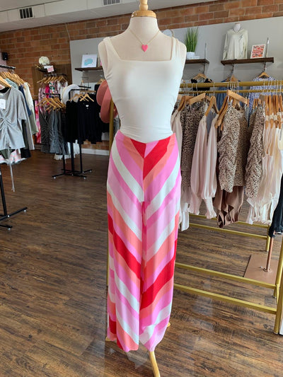 Shop PINK RED STRIPED PANTS -- As You Go Boutique