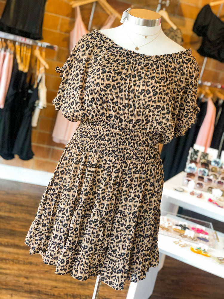 LEOPARD PRINT RUFFLE DRESS - As You Go Boutique