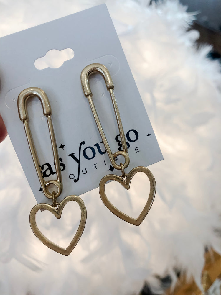 SAFETY PIN HEART EARRINGS - As You Go Boutique