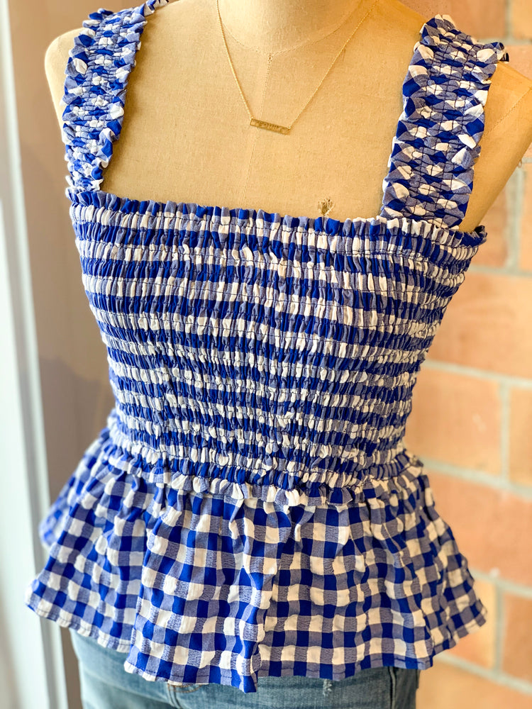 Shop GINGHAM SMOCKED TANK -- As You Go Boutique