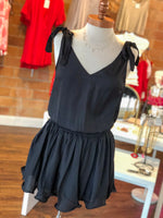 SHOULDER TIE SMOCKED DRESS