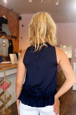 Shop NAVY RUFFLE TANK -- As You Go Boutique