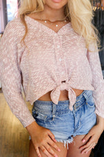 KNIT TIE TOP IN CORAL - As You Go Boutique
