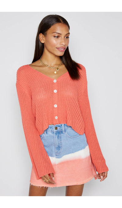Shop KNIT CARDIGAN IN CORAL -- As You Go Boutique