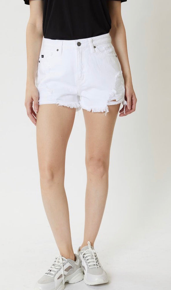 KAN CAN DENIM HIGH RISE SHORTS IN WHITE
