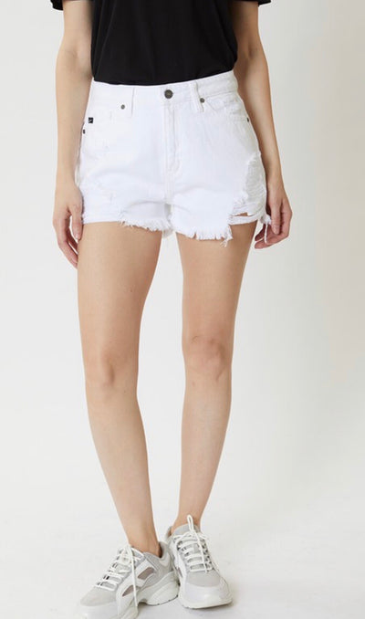 Shop KAN CAN DENIM HIGH RISE SHORTS IN WHITE -- As You Go Boutique