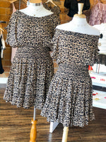 LEOPARD PRINT RUFFLE DRESS