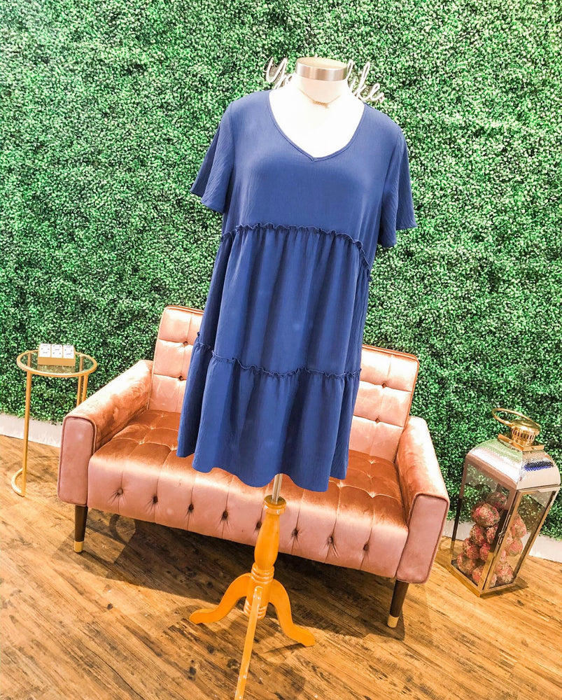 BLUE TIER DRESS IN BLUE CURVY