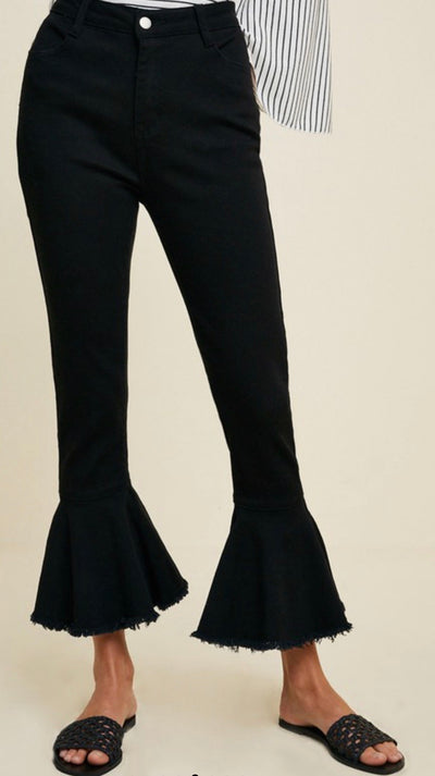 Shop FRILL AND FLARE JEANS IN BLACK -- As You Go Boutique