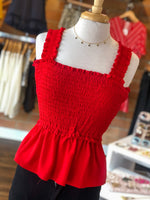 SMOCKED RED TANK IN RED