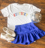 RUFFLED SKORT IN ROYAL BLUE
