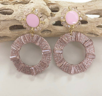 Shop SPARKLE PINK CIRCLE EARRINGS -- As You Go Boutique