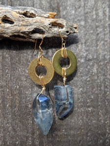 Quartz with Brass Ring Earrings