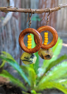 Yellow Agate + Wooden Ring Earrings
