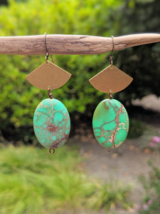Green Fan Earrings