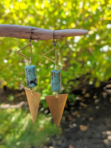 Brass + African Turquoise Earrings