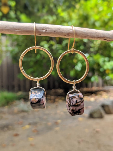 Rhodonite Hoop Earrings