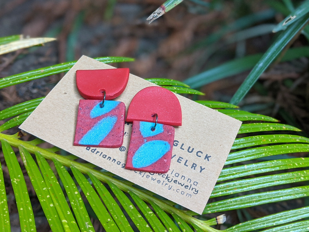 Red + Blue Granite Earrings