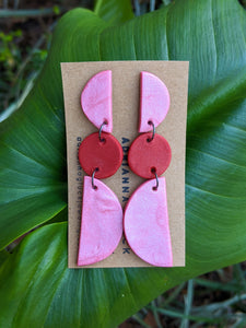 Pink + Red Shimmer Dangle Earrings