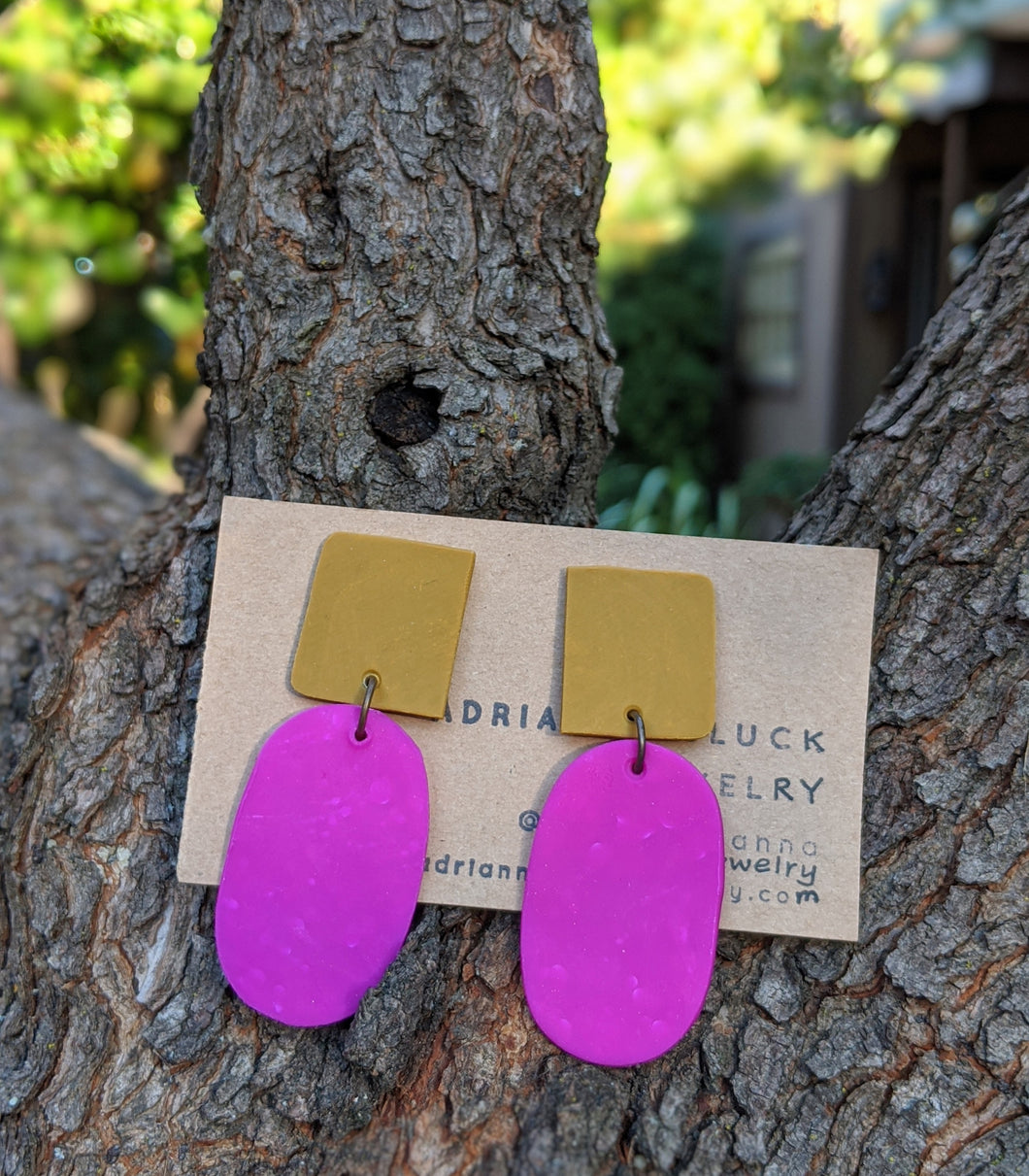 Mustard Square + Fuchsia Drop Earrings