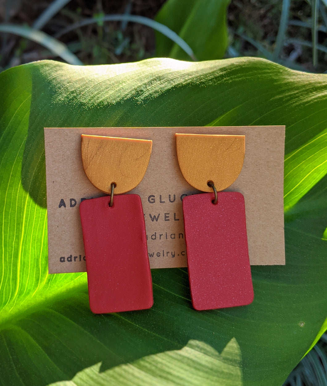 Gold + Red Brick Earrings