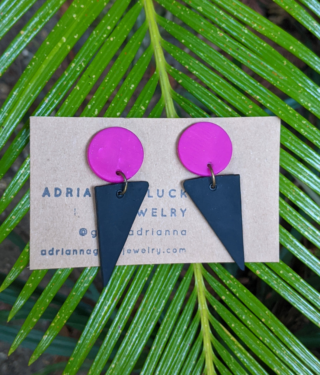 Mini Triangle + Fuchsia Earrings