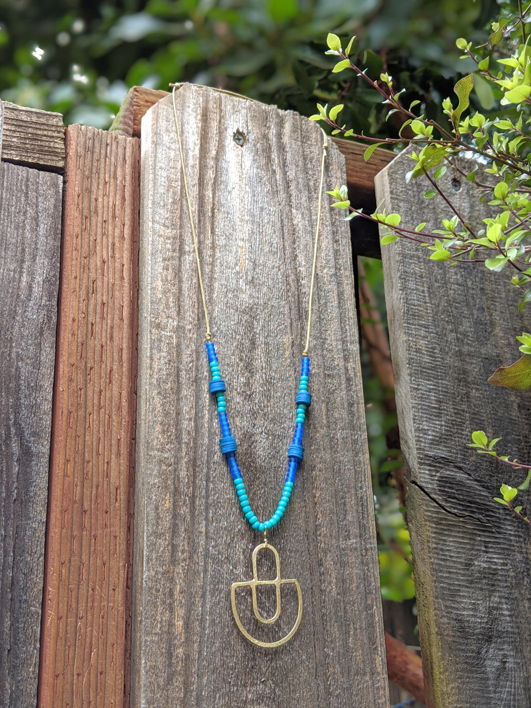 Blue Beaded Brass Necklace