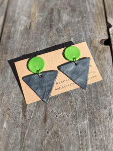 Charcoal Triangle Earrings
