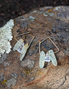 Prehnite Squared Earrings