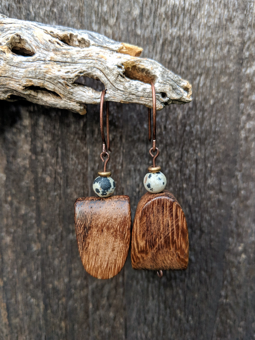 Wood + Dalmatian Jasper Earrings