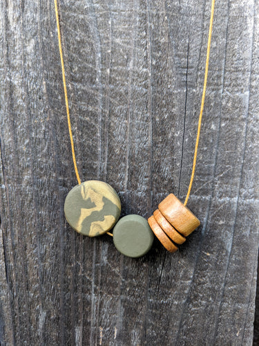 Wood + Polymer Discs Necklace