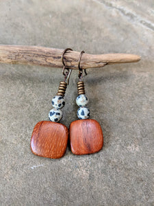 Wood, Dalmatian Jasper & Metal Earrings
