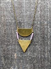 Load image into Gallery viewer, Brass + Lilac Necklace