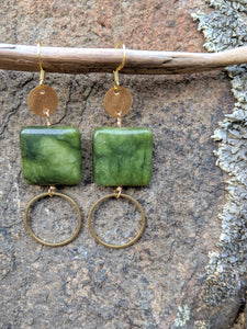 Brass + Jade Earrings