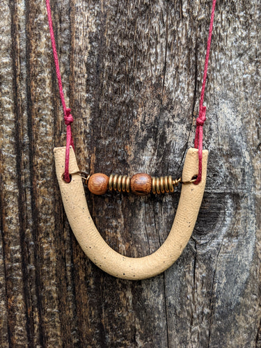 Mini Curve with Brass + Wood Necklace