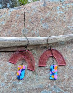 Pink with Multi-color Drops Earrings