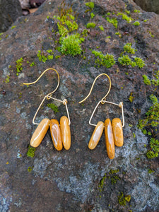 Yellow Jade Squared Earrings