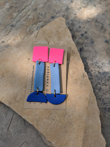 Pink with Shades of Blue Earrings