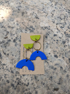 Lime, Navy Blue + Brass Earrings