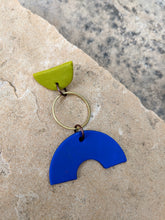 Load image into Gallery viewer, Lime, Navy Blue + Brass Earrings