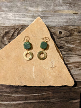 Load image into Gallery viewer, Brass Ring+ Jade Earrings