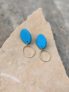 Blue Brass Drop Earrings