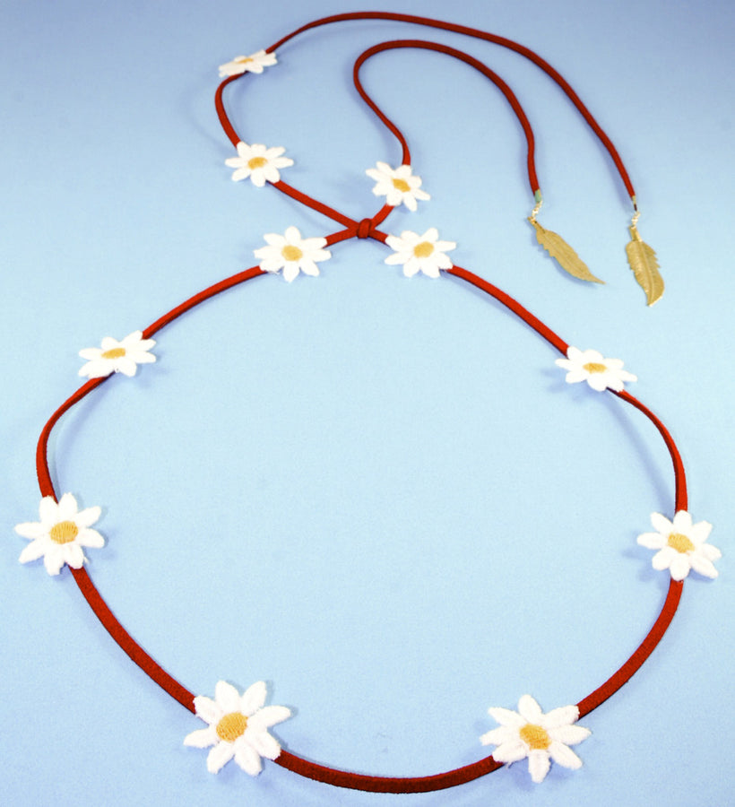 Yellow Daisy/Red Suede Band
