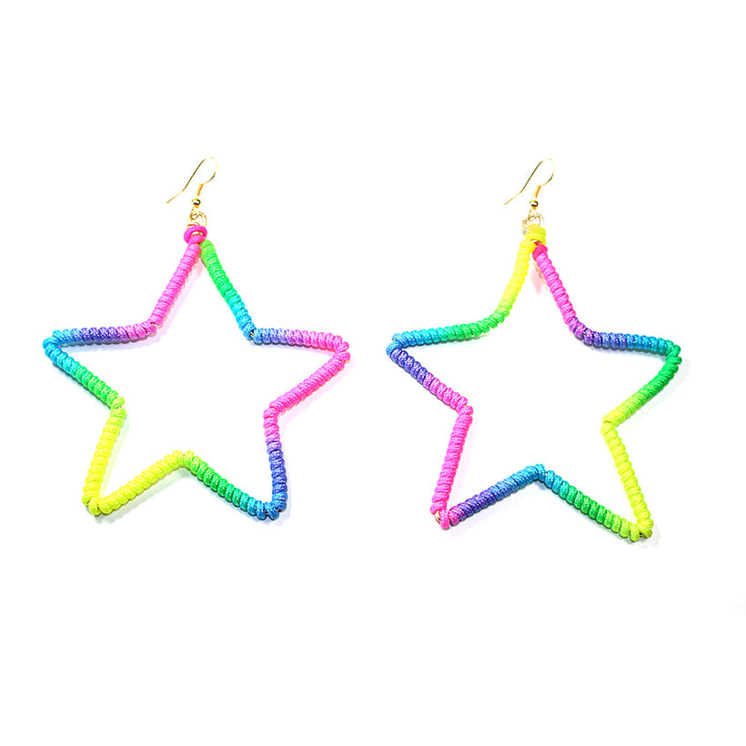 Neon Rainbow Star Shape Hoops