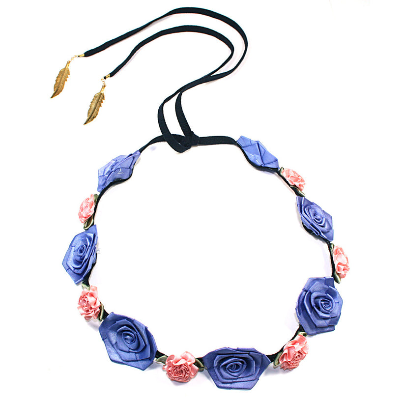 Pink Marigold and Periwinkle Rose/Blue Suede Band