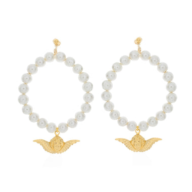 Angelic Pearl Hoop Earrings