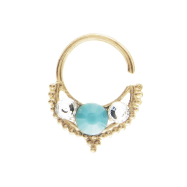 Turquoise and Clear Jewel Freya Ring