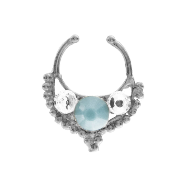 Turquoise and Clear Jewel Freya Clip