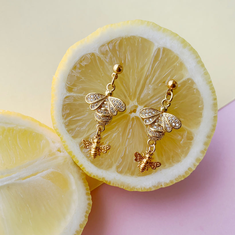 rhinestone bee earrings